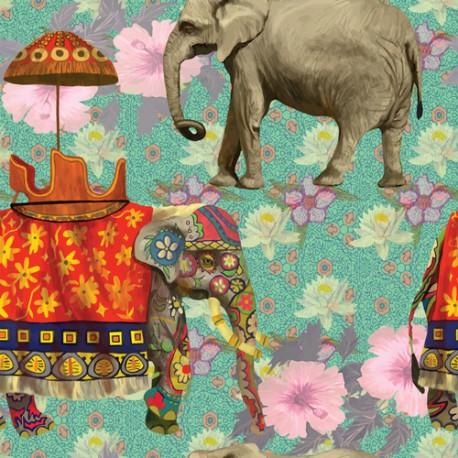 Papier peint Eléphants indiens